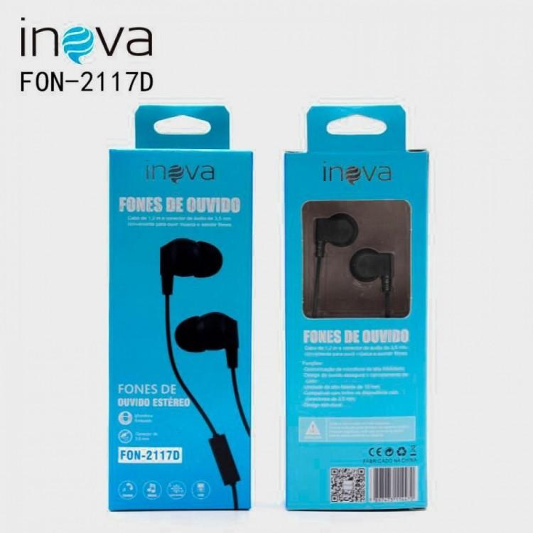 Fone de Ouvido Inova Intra Auricular Fon-2117d Preto