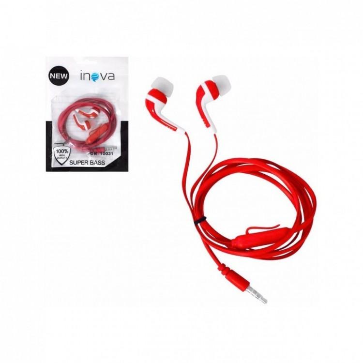 Fone de Ouvido com Microfone Inova Intra Fon-10031 Vermelho
