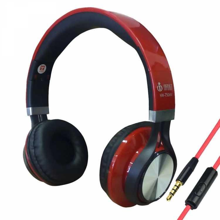 Fone com Microfone Infokit Hm-750mv Vermelho